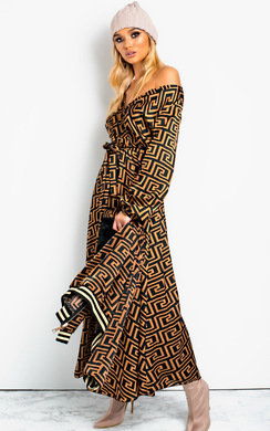 View the Effie Printed Maxi Shirt Dress online at iKrush