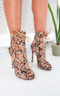 View the Elena Lace Up Cut Out High Heels online at iKrush