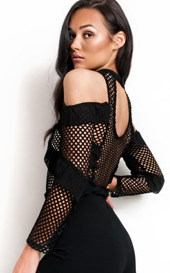 View the Elettra High Neck Mesh Frill Bodysuit  online at iKrush