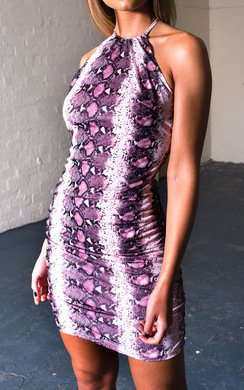 View the Eli Ruched Snake Print Dress online at iKrush