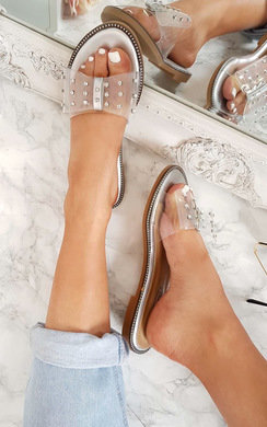 View the Elis Slip On Diamante Perspex Sandals  online at iKrush