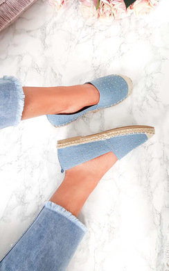 View the Elissa Denim Studded Espadrille  online at iKrush