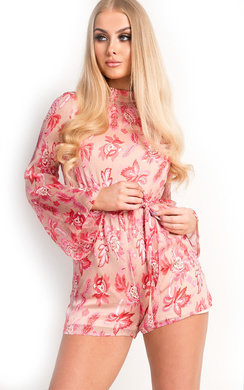 View the Elissa Floral High Neck Belted Playsuit  online at iKrush
