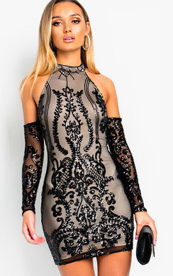 View the Ella Sequin Embellished Cold Shoulder Mini Dress online at iKrush