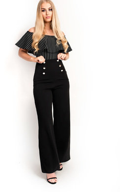 View the Ellah Striped Off Shoulder Bodysuit online at iKrush