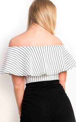 View the Ellah Striped Off Shoulder Bodysuit online at iKrush