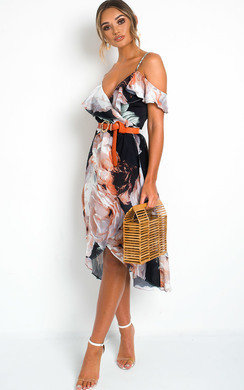 View the Elle Floral Wrap Front Midi Dress online at iKrush