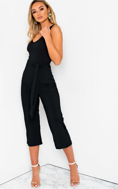 View the Ellen Ribbed Stripe Tie Waist Wide Leg Jumpsuit online at iKrush