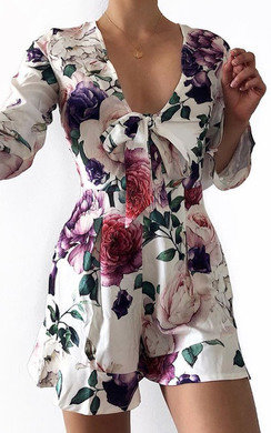 View the Ellie Floral Plunge Neckline Playsuit  online at iKrush