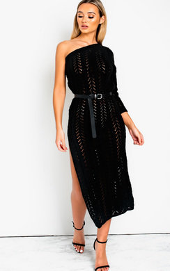 View the Ellie Knitted Side Split One Shoulder Dress  online at iKrush