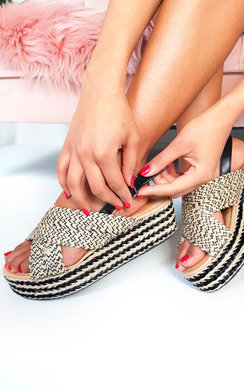 View the Ellis Braided Crossover Flatform Sandals online at iKrush