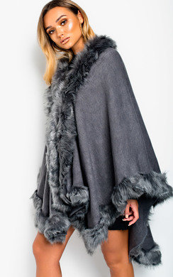 View the Elma Faux Fur Detailed Poncho online at iKrush