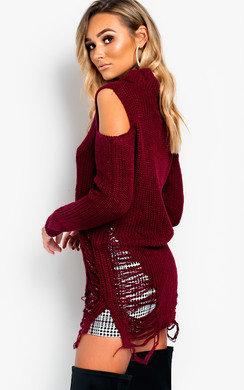 View the Elodie Slashed Oversized Cold Shoulder Jumper online at iKrush