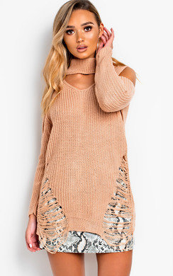 View the Elodie Slashed Oversized Cold Shoulder Jumper online at iKrush