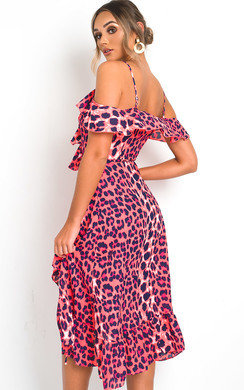 View the Elsa Printed Wrap Front Midi Dress online at iKrush