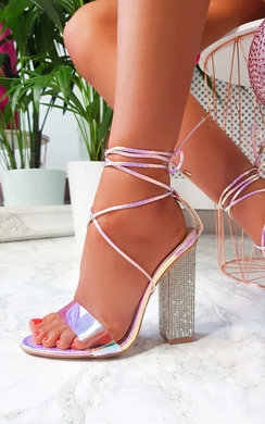 View the Elsie Iridescent Diamante Embellished Heels online at iKrush
