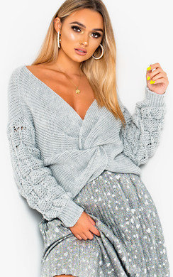 View the Elsie Knitted Crossover Jumper online at iKrush