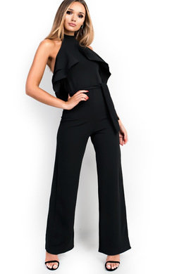 View the Emel Frilled Halter Neck Flared Jumpsuit online at iKrush