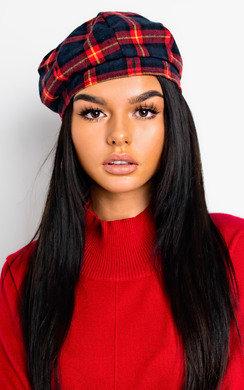 View the Emilia Tartan Beret Hat online at iKrush