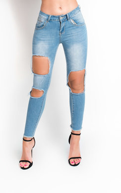View the Emily Skinny Mid Rise Ripped Jeans online at iKrush