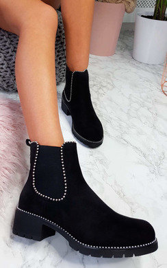 View the Emma Faux Suede Chunky Heel Boots online at iKrush