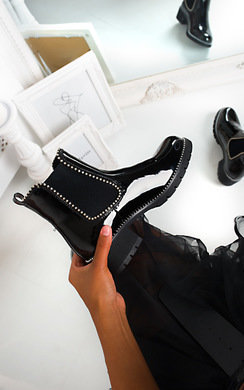 View the Emma Patent Chunky Heel Boots online at iKrush