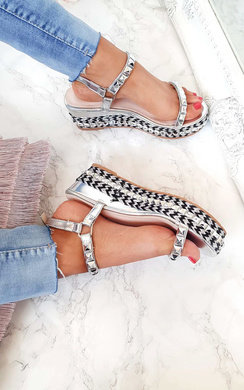 View the Emmy Studded Braided Flatforms online at iKrush