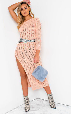 View the Emy Knitted Side Split One Shoulder Dress  online at iKrush
