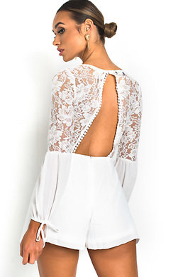 View the Erim Crochet Lace Backless Playsuit online at iKrush