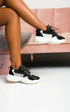 View the Erin Snake Print Shimmer Chunky Trainers online at iKrush