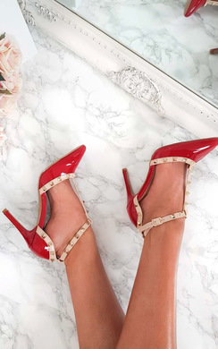 View the Ersula Multi Strap T-Bar Studded Court Heels online at iKrush