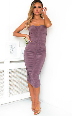 View the Esme Bandeau Ruched Bodycon Midi Dress online at iKrush