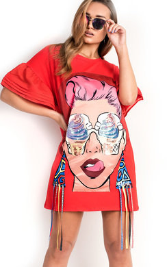 View the Estelle Slogan Pop Art T-Shirt Dress online at iKrush