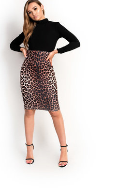 View the Eva Midi Leopard Print Long Sleeve Dress online at iKrush