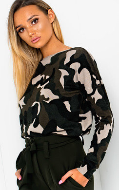 View the Eve Knitted Camo Print Jumper  online at iKrush