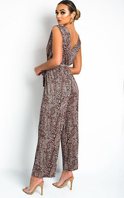 View the Fae Sleeveless Tie Slinky Jumpsuit online at iKrush