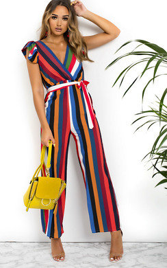 View the Faith Stripe Wide Leg Jumpsuit online at iKrush