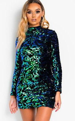 View the Fallon Sequin Embellished Velvet Mini Dress online at iKrush