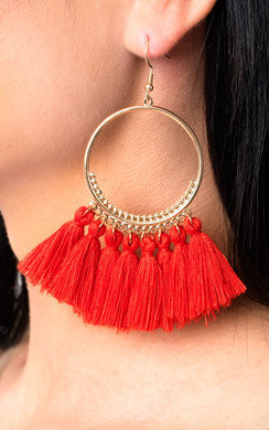 View the Farah Hooped Tassel Earrings  online at iKrush