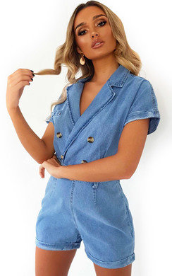 9d44175a2c9d View the Fergie Oversized Button Front Denim Playsuit online at iKrush