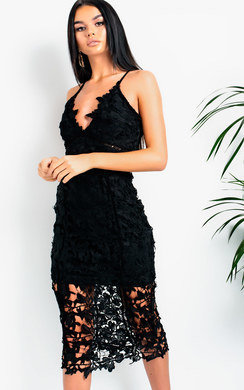View the Fifi Crochet Lace Plunge Midi Dress online at iKrush