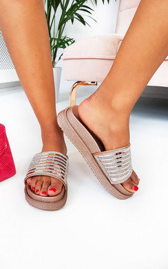 View the Fifi Diamante Metallic Flatform Sliders online at iKrush