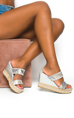 View the Fifi Diamante Wedged Sandals online at iKrush
