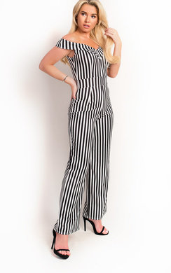 View the Fifi Stripe Wide Leg Off Shoulder Jumpsuit online at iKrush