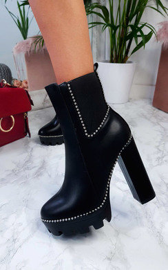 View the Fifi Studded Chunky Heeled Boots online at iKrush