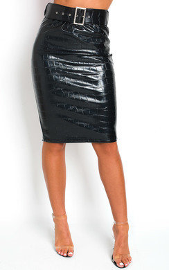 View the Fliss Faux Leather Midi Skirt online at iKrush