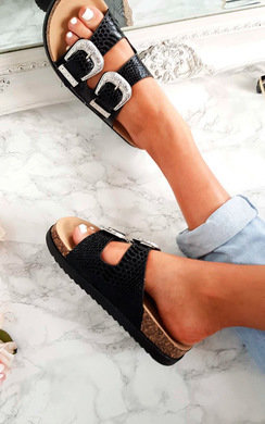 View the Flora Double Buckle Metallic Sliders online at iKrush