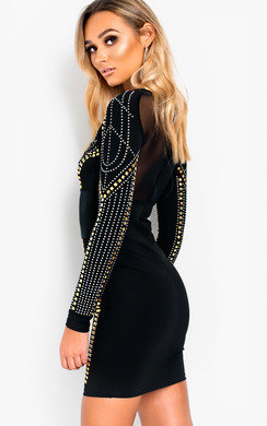 View the Flora Studded Embellished Bodycon Dress online at iKrush