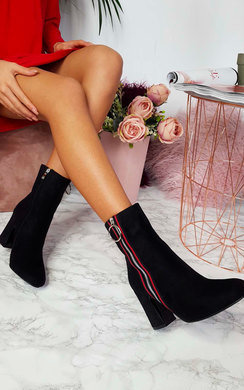 View the Florence Zip Striped Heeled Boots online at iKrush