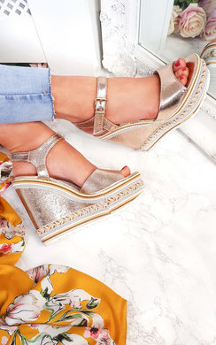 View the Floriana Metallic Braided Wedges online at iKrush